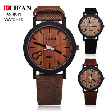 Simulation Wooden Relojes Quartz Men Watches Casual Wooden Color Leather Strap Watch Wood