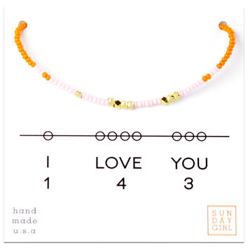 Friendship Bracelet - I Love You 143  - Pink/Orange