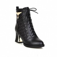 Carolbar Women's Fashion Lace up Metal Pendant Decorations Chic High Heel Short Dress Boots