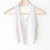 Striped Halter V-neck Crop Top - Ivory