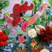 "Mixed Media, Collage, Painting, 8 x 10 inch Canvas, ""All God's Creatures"", Unusual Angel Representation, Flowers, Paint, Dyes, Inks"