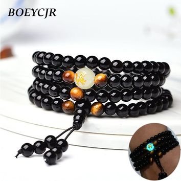 BOEYCJR Black Buddha Beads Bangles & Bracelets Handmade Jewelry Ethnic Glowing in the Dark Bracelet for Women or Men
