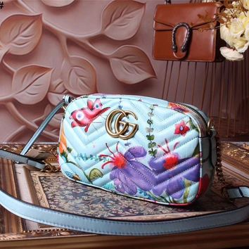 Gucci Gg Butterfly Hummingbird Leather Shoulder Bag