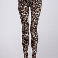 Women Sexy Brown Leopard Animal Printed High Waist Stretch Leggings Ankle Tight