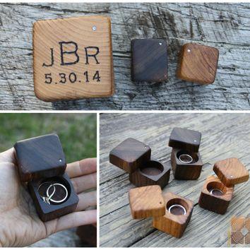 Ring Box Rustic Wood - Personalized Rustic Man Ring Holder- Personalized Engagement- Rustic Wedding Ring Box
