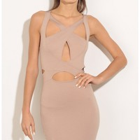 Party dresses > Cut-Out Bodycon Dress In Taupe