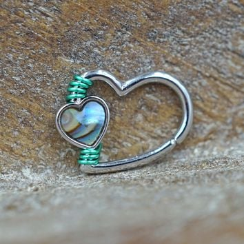Abalone Shell Silver Heart Hoop