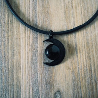 Black Moon and Black Agate Stone Necklace - Moon Choker