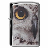 Zippo 28650 Classic Brushed Chrome Owl Face Windproof Pocket Lighter