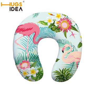 HUGSIDEA Flamingo Print U-shape Pillow Comfort Polyester Memory Foam Pillow Travel Flight Headrest Neck Support Outdoor Pillow