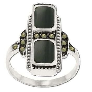 Sterling Silver Genuine 11 Marcasite And Black Onyx Ring