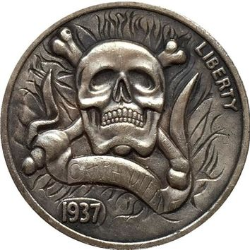!!!RARE!!!Hobo Nickel 1937 BUFFALO NICKEL COIN SKULL & CROSSBONES