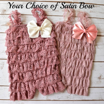 Cake Smash Outfit Girl, Baby Girl 1st Birthday Outfit, Newborn Romper, Baby Romper, Toddler Romper, Pink Romper, Lace Romper, Rompers