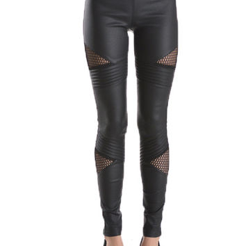 Fishnet Faux Leather Leggings