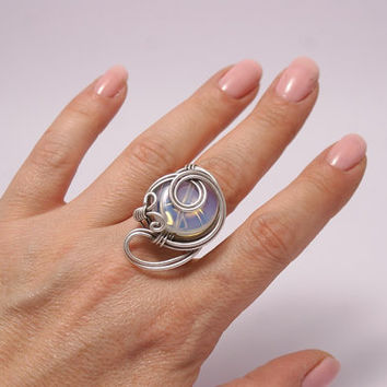 moonstone ring,statement ring, wire wrapped jewelry, silver moonstone ring,wire wrapped jewelry handmade silver jewelry