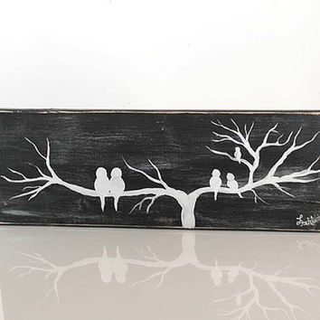 Rustic Wood Signs Reclaimed Wood Art Upcycled Wood Sign Love Bird Painting Anniversary Gift Neutral Home Decor Wood Decor Pallet Board Art