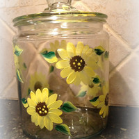 Cookie Jar Hand Painted With Sunflowers