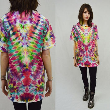 Psychedelic Tie Dye Shirt Symmetrical Hippie Soft Grunge Mens Womens Unisex Clothing Large Handmade Tie Dye Groovy Grunge Trippy Shirt