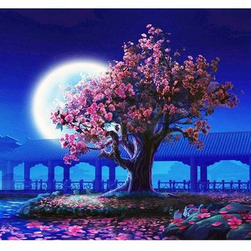 Romantic Moon Night Landscape Painting For Living Room & Home Decor