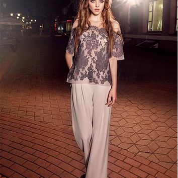 [118.99] Exquisite Pant Suits Chiffon Bateau Neckline Full-length Mother Of The Bridal Dresses With Lace Appliques - dressilyme.com