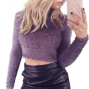 Autumn Women Sweaters Pullovers Knitted Fluffy Jumper Crop Top Turtle Neck Long Sleeve Mohair Slim Knitwear Sueter Muje 6Q0500