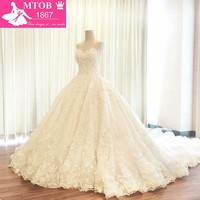 Wedding Dress 2017 Alibaba China Strapless Ball Gown Lace bridal Gowns Long Train Beaded Appliques vestido de noiva prince W1126