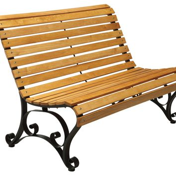 Curby Curved Slatted Wood & Iron Outdoor Bench Natural Oak