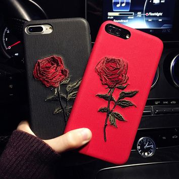 JAMULAR For iPhone 8 7 Plus Case Handmade Embroidery 3D Rose Phone Cases For iPhone 6s 6 7 8 Plus Cases Back Cover Coque Shell