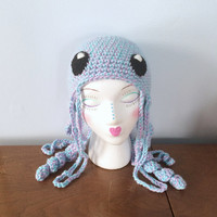 "Crochet Jellyfish Hat ""Juno"" - Winter Hats - Adult Animal Hats - Kids Character Beanie - Man Of War - Unique Hats - Crochet Animal Beanie"