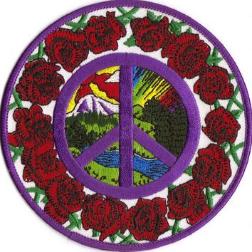 IRON On Hippie Peace N Love PATCH Happiness Image of Vintage Embroidered Patch you iron on Jacket Jeans Tees Patchwork Grateful Dead Rose