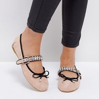 River Island Ballerina Pumps With Embellished Strap at asos.com