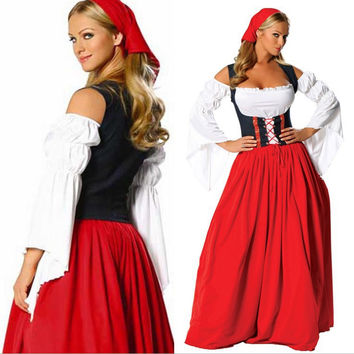 Sexy German Wench Oktoberfest Costume Cosplay Plus Size Beer Maid Peasant Dress Costume Adult Halloween Costume Women