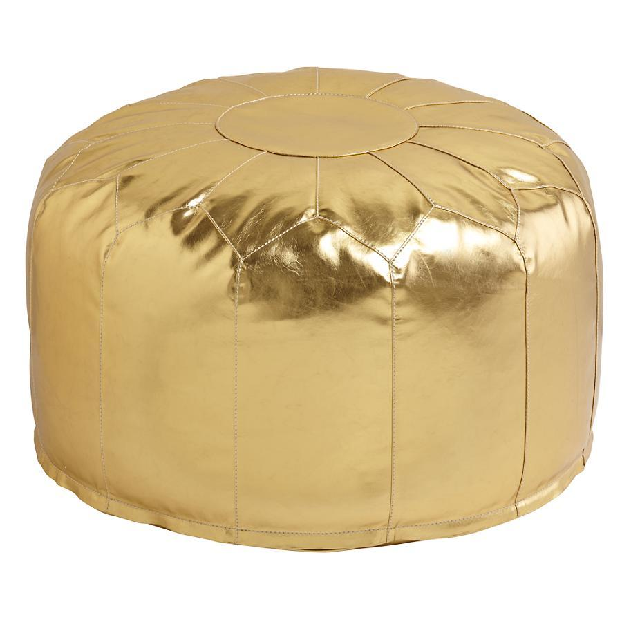 faux leather pouf gold from the land of nod furnitures. Black Bedroom Furniture Sets. Home Design Ideas
