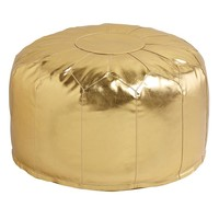 Faux Leather Pouf (Gold)
