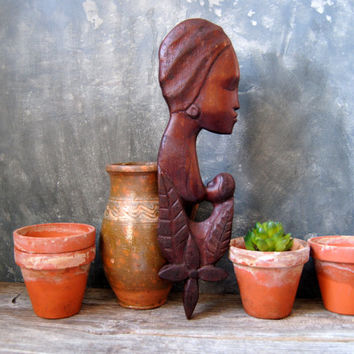 Vintage Hand Carved Mother and Baby Wall Hanging - Celebrate Mother's Day - African Wood Carving