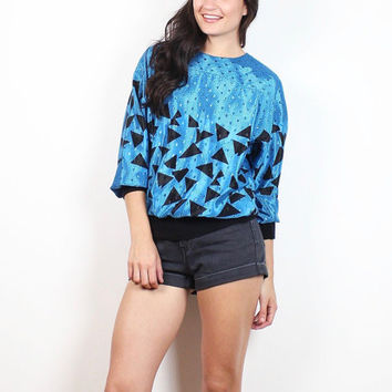 Vintage 1980s Blouse Blue Black Geometric Abstract Print Slouch Top 80s New Wave Mod Polka Dot Scarf Print Tshirt Long Sleeve XS S Small M