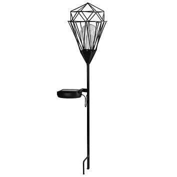 "25.5"" Black Solar Powered LED Outdoor Patio Metal Lantern with Garden Stake"