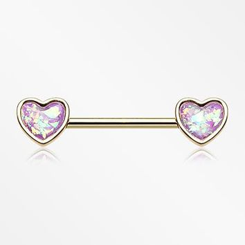 A Pair of Golden Opalescent Heart Sparkle Nipple Barbell