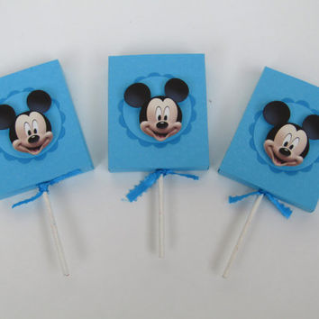 Mickey Mouse Lollipop Party Favor Cover -Candy Box-Treat Box -Mickey Mouse Boy Birthday Party Box- Mickey Mouse Classroom Favors – Set of 12