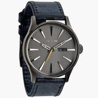 Nixon The Sentry Leather Watch Gunmetal/Navy One Size For Men 24406811201