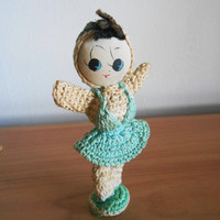 1960s Little Crochet  Doll- Poseable Dolly-  Miniature- Cloth Face- Big Eye- Kitsch Vintage Retro