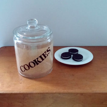 Vintage cookie jar with printed burlap pattern on glass