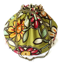Flowered Toy Bag Lime Green Peach Pink & Chocolate Brown Extra-Large Bag Home School Travel Girls Laundry Tote -- US Shipping Included