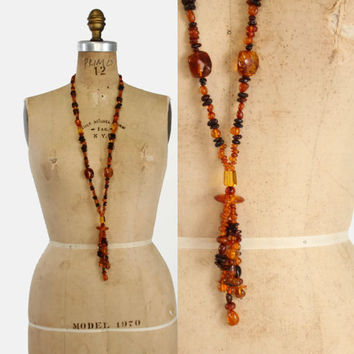 Vintage 70s Amber NECKLACE / 1970s Does 20s Deco Chunky Genuine Amber Beaded Tassle Necklace
