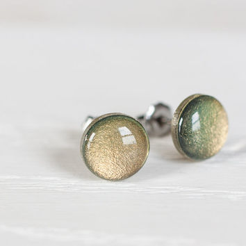 Golden Moss Shimmer Post Earrings - Hypoallergenic Studs