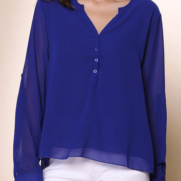 Solid Color V-neck Long Sleeve Button Detail Blouse