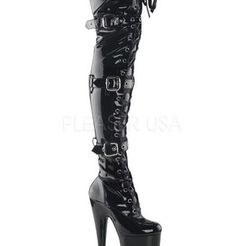Pleaser Female 10 Inch Heel, 1/4 Inch Platform Lace-Up Thigh Boot BEY3028