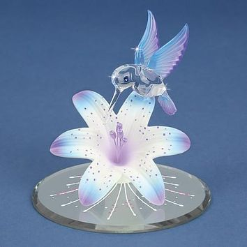 Glass Baron Blue And Purple Hummingbird And Lily With Base Figurine