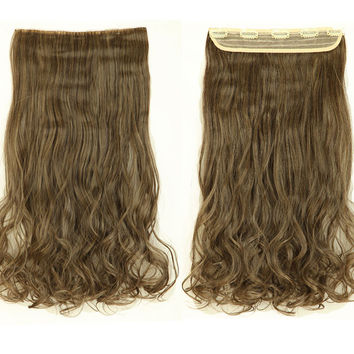 USA SHIP Mega Thick 24 Inch 60CM Real Natural Hair Extention 3/4 Full Head Clip in Hair Extensions Curly/Wavy New Mix Color