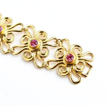 Vintage Pink Rhinestone Bracelet -  Gold Tone Signed Avon 1960s Filigree Statement Costume Jewelry / Flower Power